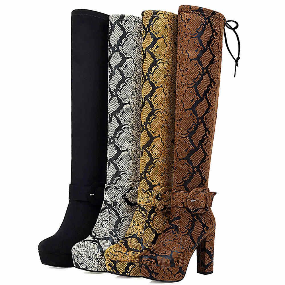 BONJOMARISA Mới Plus Size 32-46 Thương Hiệu Nền Cao Đầu Gối Cao Giày Nữ 2019 Thời Trang Nữ Đảng Giày Cao Gót giày Boots Nữ