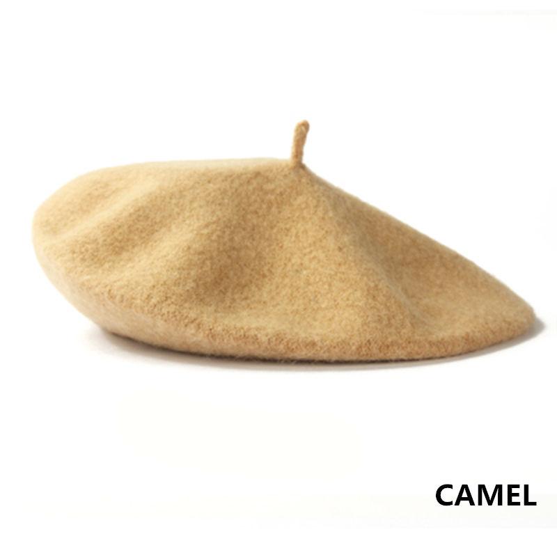 Женский берет для девушек, французский артист, теплая шерстяная зимняя шапка, шапка, винтажный однотонный берет, одноцветная элегантная женская зимняя шапка s - Цвет: Camel