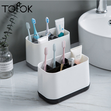 цены Tofok Removable Toothbrush Toothpaste Storage Rack Bathroom Multifunctional Toiletries Comb Rack Plastic Multi-grid Home Holder