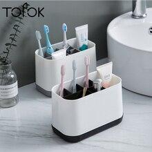 Tofok Removable Toothbrush Toothpaste Storage Rack Bathroom Multifunctional Toiletries Comb Plastic Multi-grid Home Holder