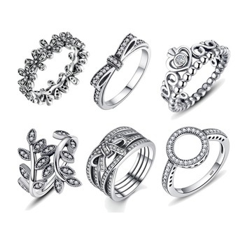 Hot Sale 100% 925 Sterling Silver Rings  Wholesale Popular Flower Lucky For Women Jewelry Making Dorpshipping - discount item  55% OFF Fine Jewelry
