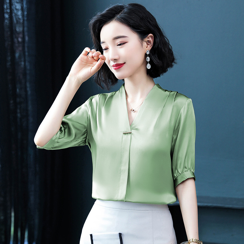Summer New Solid Color V-neck Chiffon Five-point Sleeve T-shirt Women Gray