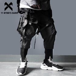 11 BYBB'S темно-ленты с несколькими карманами Брюки Карго Для мужчин повседневные бегунов трек Уличная Брюки мужские хип-хоп брюки Techwear джогеры...