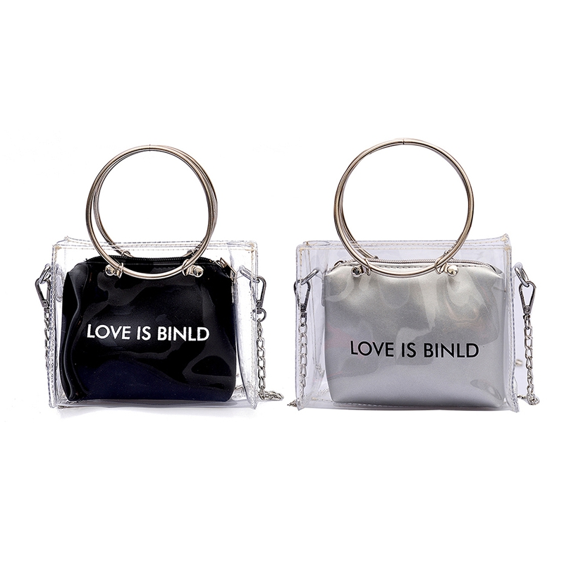 2Pcs Fashion Women Bag Set Transparent Shoulder Bag+Clutch For Teenage Girls Fashion Jelly Crossbody Bag Circle Handle Tote Silv