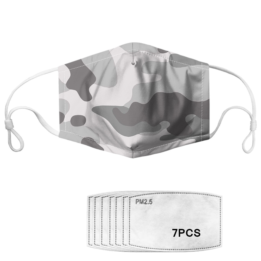 Camouflage Design Face Mask Filter 7pcs Washable Reusable Mouth-Muffle Unisex Cycling Travel Face Protection Camo Running Mask