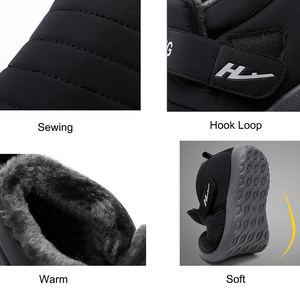 Image 3 - Womens Boots Winter Large Size 43 45 Hook Loop Sturdy Sole Ankle Boots Women Solid Plush Snow Boots Woman warm Shoes Cheap
