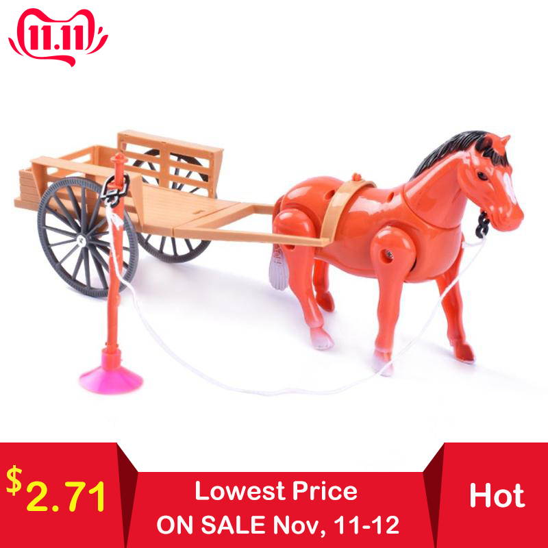 Electronic Toys Novelty Toys Electric Small Horse-drawn Cart Children Toy Suit Accessories Children's Pull Back Carriage Gifts