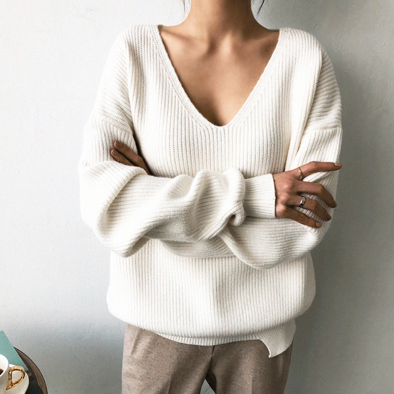 Image 2 - TWOTWINSTYLE Knited Korean Autumn Sweater For Women V Neck Long 