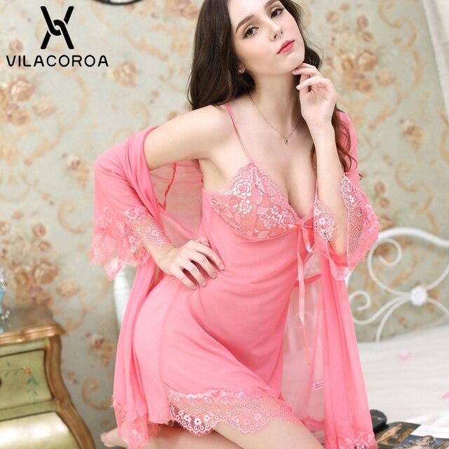 סקסי תחרה רשת חלוק סט נשים שקוף הלבשת Robe + Camis + תחתוני 3 חתיכה סטי טרקלין סט femme hiver בית שמלה