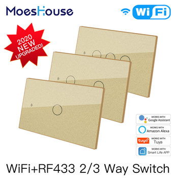 Smart Glass Panel Switch Smart Life/Tuya App Multi-Control Association, Voice Control with Alexa,Google Home,US 1/2/3 Gang chint lighting switches 118 type switch panel new5d steel frame four position six gang two way switch panel