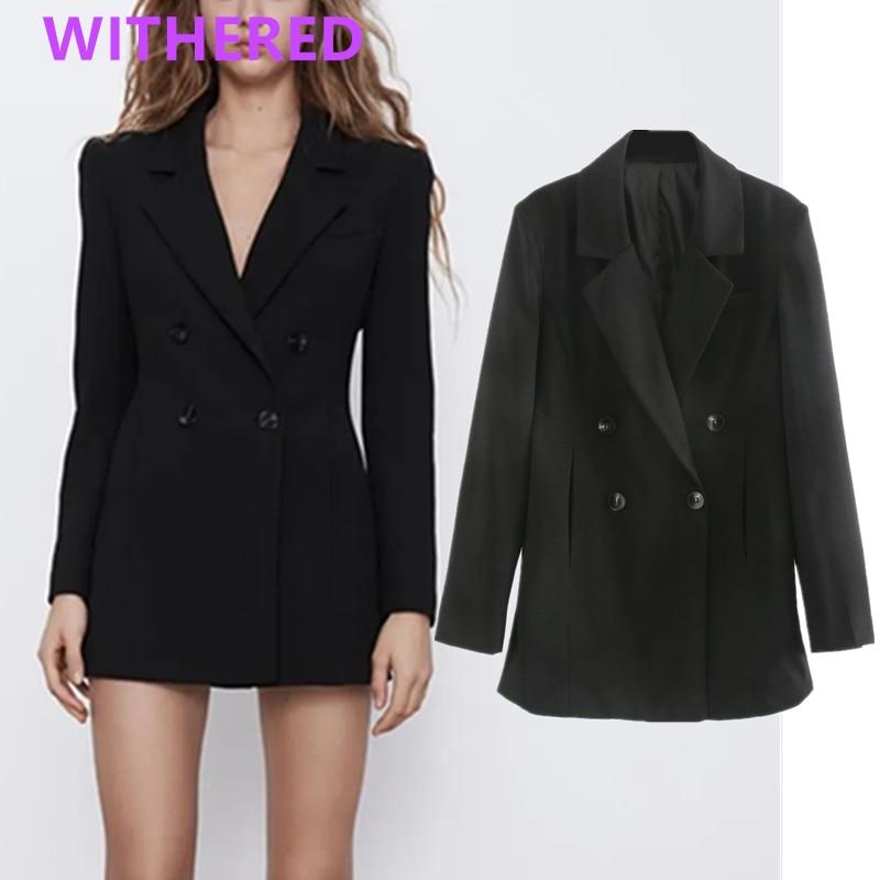 Withered england office lady double breasted slim long blazer feminino blazer women blazer mujer 2020 women blazers and jackets