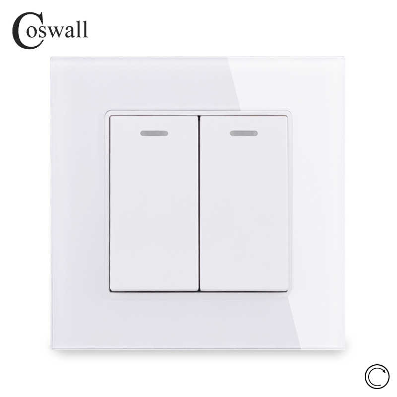 Coswall Crystal Glass Panel 2 Gang 1 Way Reset Switch Pulse Switch Momentary Contact Switch Push Button Wall Light Switch 16A