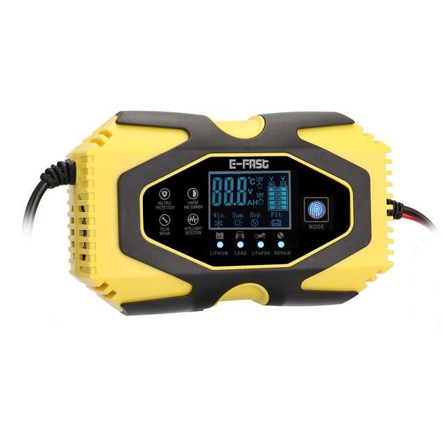 12V6A/24V3A Intelligent Car Motorcycle Battery Charger For Auto Moto Lead Acid AGM Gel VRLA Smart Charging Digital LCD Display
