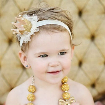 Elastic Baby Crown Headband Princess Imperial Crown Hairband Gifts Pearl Tiara Party Hair Accessory Lace Headwear image