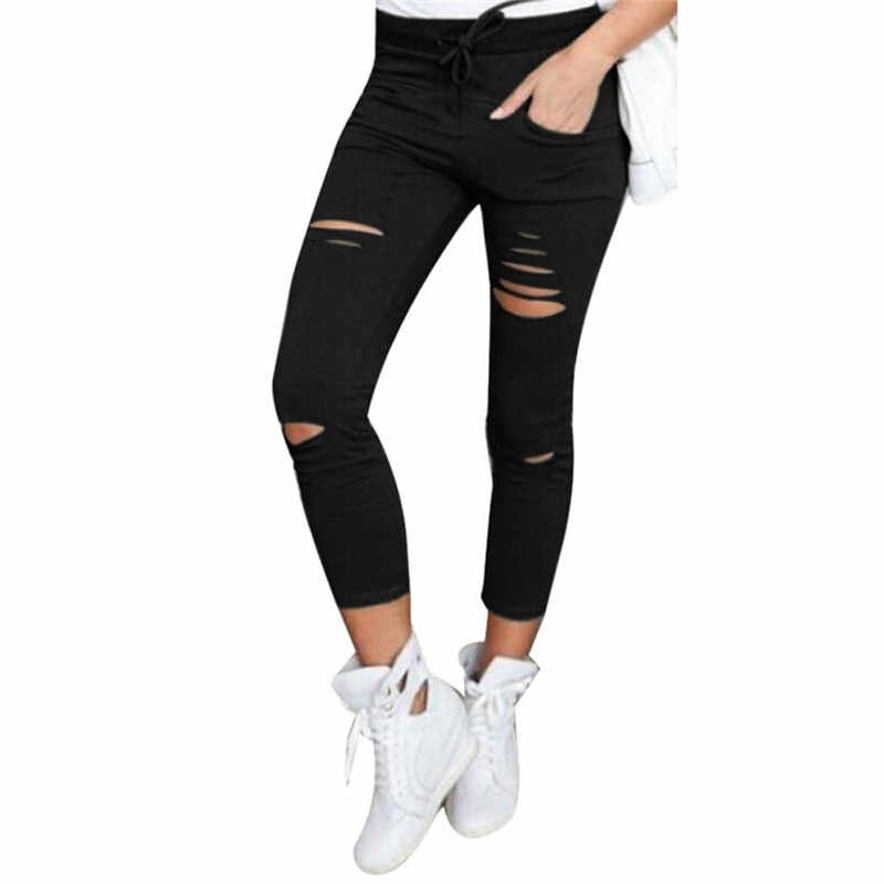 2019 JAYCOSIN High Waist Skinny Fashion Boyfriend Material Jeans for Hot Women Hole Vintage Girls Slim Ripped Denim Pencil Pants