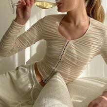 Женская рубашка с длинным рукавом и круглым вырезом однобортная