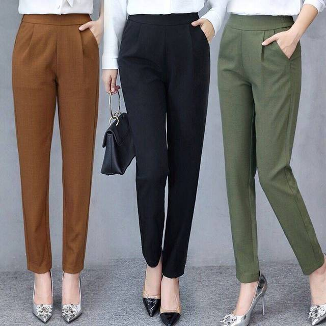 Women Autumn Pants Ankle Pants Female Slim Drape Casual Pants Comfortable and Smooth Trousers GDD99