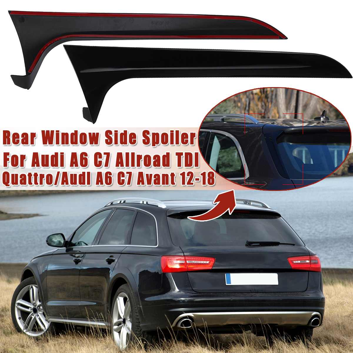 Rear Behind Window Spoiler Side Strip Cover Trim Exterior Refit Kit Fit  For Audi A6 C7 Allroad TDI Quattro/for Avant 2012 2018|Car Stickers| |  - title=