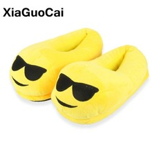 Women Home Slippers Cute Unisex Winter Warm Cartoon Plush Slippers Indoor Floor Furry Cotton Couple Shoes Soft Yellow Hot Sale