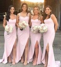 Классический розовый лицевая сторона Сплит Русалка платья невесты длинные 2020 спагетти шея покрыта молнии вернуться горничной честь платья