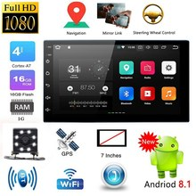 7 Inch 2 Din Android 8.1 Auto Stereo MP5 Speler Druk Screen FM Radio GPS WiFi BT Head Unit met camera(China)