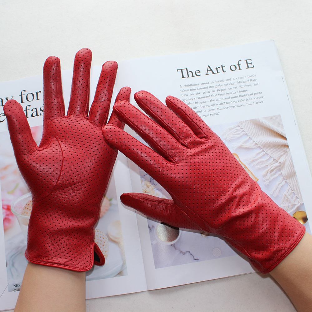 Bickmods New Women Goat Leather Gloves Color Mesh Hollow Design High Quality Driving Spring And Autumn Wear Gloves