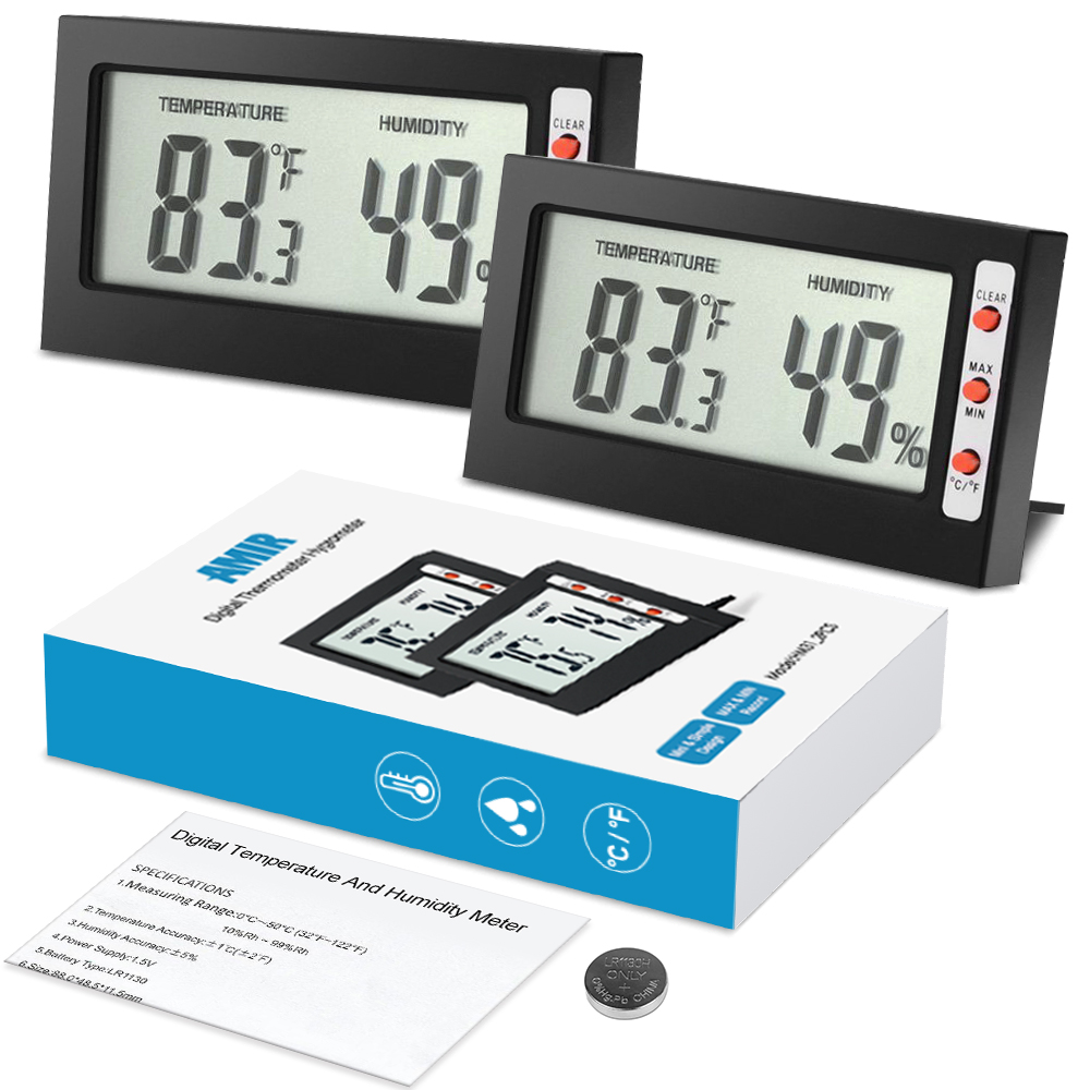 AMIR Indoor LCD Digital Hygrometer Thermometer 2pcs/set Air Humidity Monitor with Temperature Gauge Humidity Meter