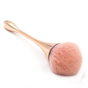 Image 2 - Pojedynczy puder fundacja Makeup muśnięcie różowe złoto miękki rumieniec pędzel mieszający twarz przybory kosmetyczne czara kształt czerwony niebieski pędzel kosmetyczny