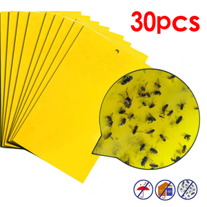 30pcs Strong Flies Sticky Traps Bugs Sticky Catching Aphid Insects Pest Killer Outdoor Fly Board Bait Flies Double Traps Yellow(China)