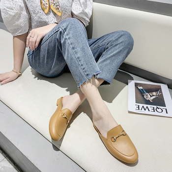 цена на Flat Shoes 2020 Fashion Mules For Women PU Leatehr Pointed Toe Slip On Women Slipper Summer Sandals Women's Shoes Zapatos Mujer