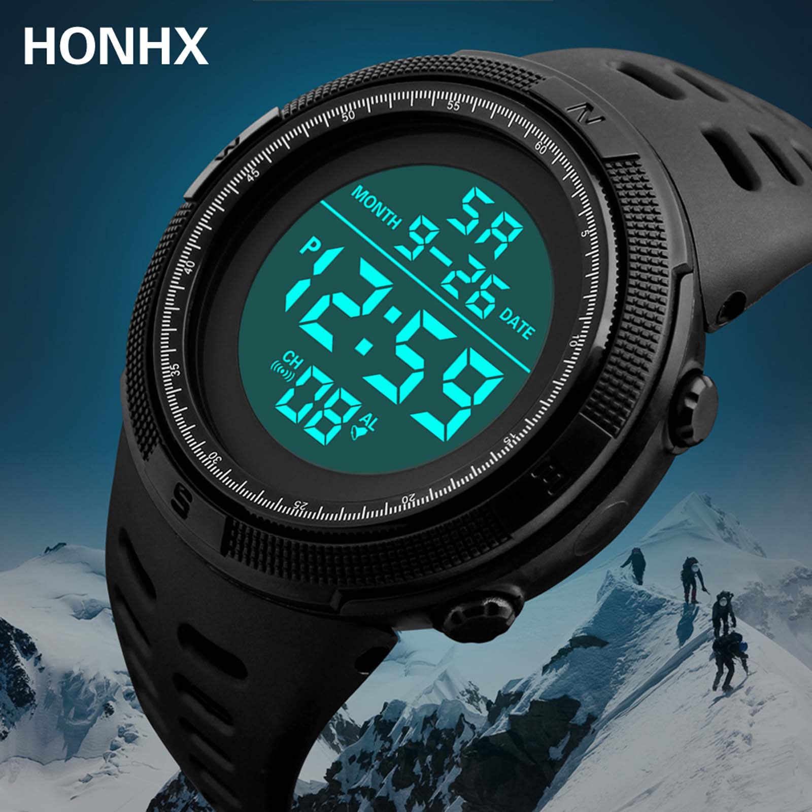 Multifunctionele Mannen Digitale Led Display Datum Waterdichte Horloges Mannelijke Outdoor Sport Elektronische Pols Klok Reloj Hombre Homme