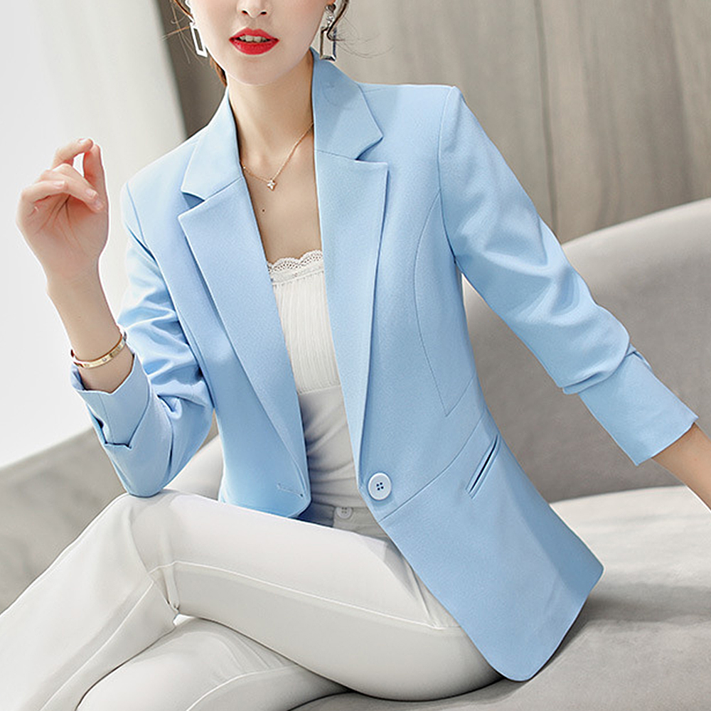 Women Casual Solid Suit Coat 2019 Autumn  Fashion Outwear Business Long Sleeve Jacket Ladies V-Neck Jacket Slim Short Coat