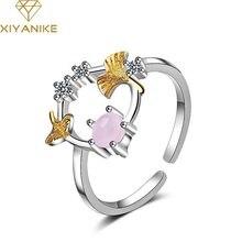 XIYANIKE 925 Sterling Hot moda urocze Ginkgo Garland pierścień otwierający dla kobiet kocha Wedding Party biżuteria na palce akcesoria