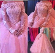 Кружевное Пышное Платье с длинным рукавом платье открытыми плечами