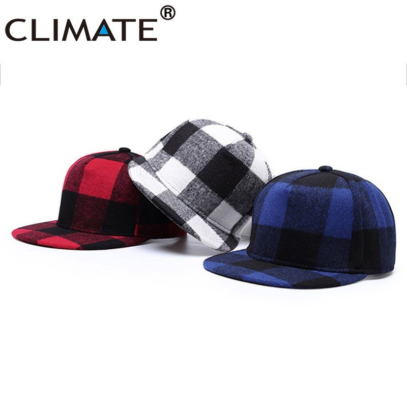 CLIMATE Warm Plaid Snapback Cap Winter Warm Cotton Fashion Wool Cap Checks No Logo Hat Caps Classic Checks Cap Hat For Men Women