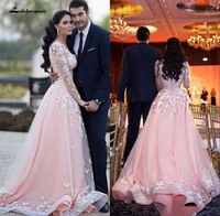 Vestdios De Novia Long Sleeves Arabic Prom Dresses Scoop Neck Over skirts Train Lace Appliques Pink Tulle Formal Evening Gown