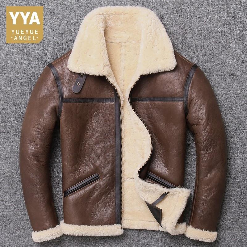 High Quality Men 100% Natural Shearling Jacket Wool Real Fur Lining Warm Overcoat Slim Fit Coat Sheepskin Genuine Leather Jacket