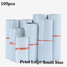 Sacs de courrier blancs de petite taille, 100 pièces, auto-scellants, adhésifs pour bijoux, emballage de petits articles, Poly enveloppe postale