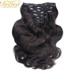200G Clip de cabeza completa en extensiones de cabello humano brasileño hecho a máquina cabello Remy 100% cabello humano Color negro Natural por UPS