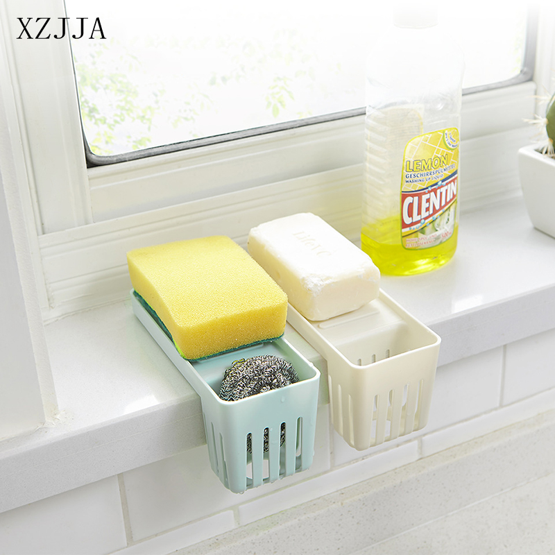 XZJJA Kitchen Sink Sponge Holder Fork Spoon Cutlery Sundries Drain Storage Rack Bathroom Kitchen Sink Accessories Organizer