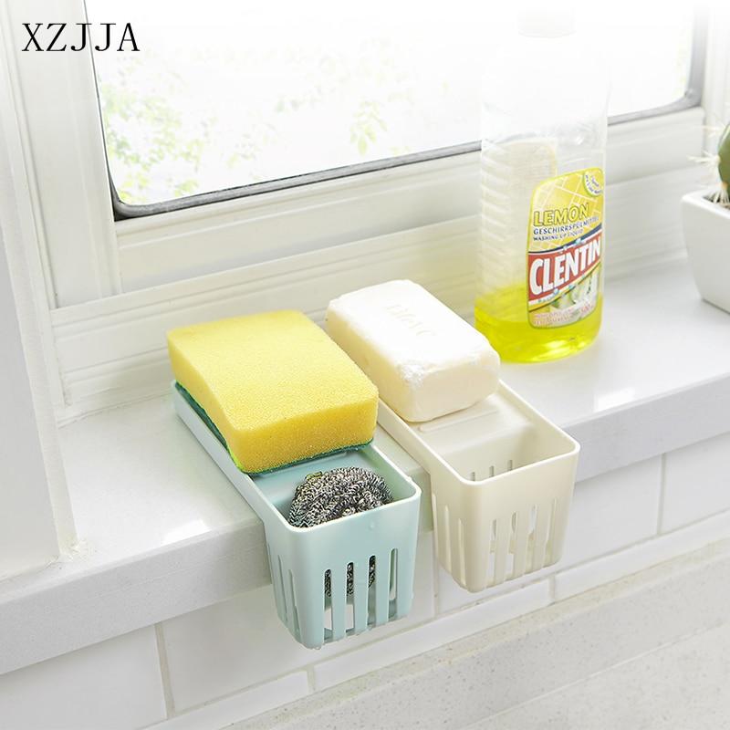 Permalink to XZJJA Kitchen Sink Sponge Holder Fork Spoon Cutlery Sundries Drain Storage Rack Bathroom Kitchen Sink Accessories Organizer