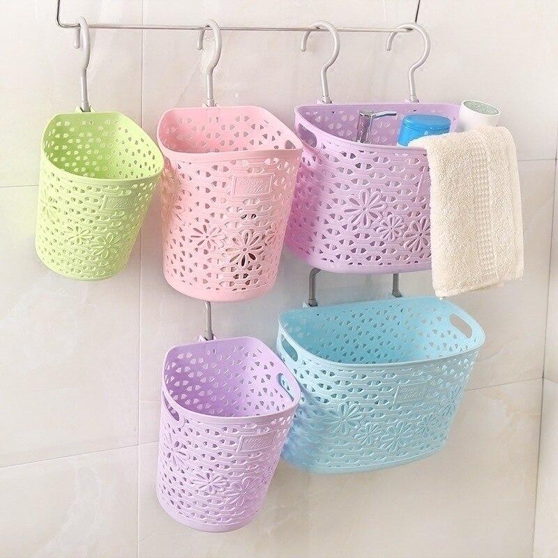 Home Bathroom Hangable Storage Basket Kitchen Plastic Storage Hanging Basket Toilet Debris Storage Basket