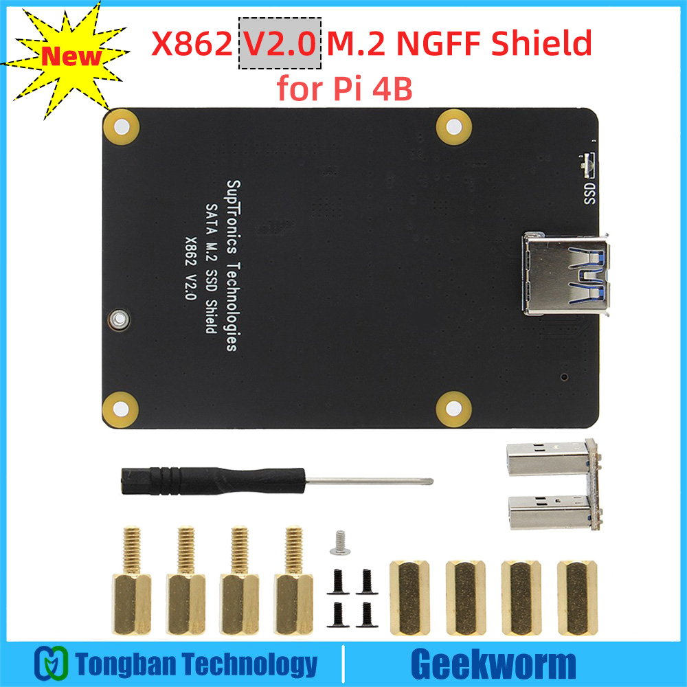 Para raspberry pi 4, x862 v2.0 m.2 ngff ssd placa de expansão de armazenamento com usb 3.1 conector chave de apoio-b 2280 ssd