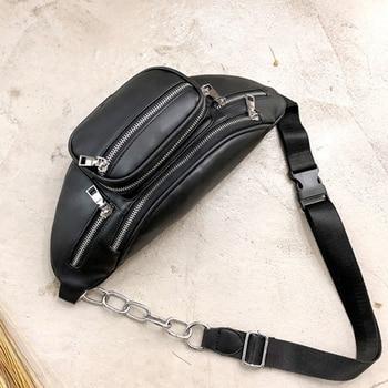 Crossbody Bags for Women PU Leather Shoulder Chest Bag Large Capacity Ladies Handbag Zipper Waist Pack