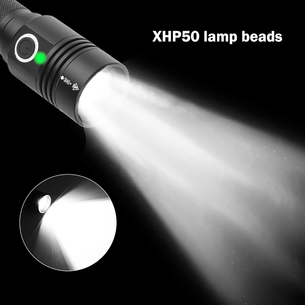 Image 5 - Aluminum Alloy XHP50 LED Flashlight 4 Modes Outdoor Torch Charge display Taschenlampe Jagdlampe Camping Lampe 1x18650 Battery-in LED Flashlights from Lights & Lighting