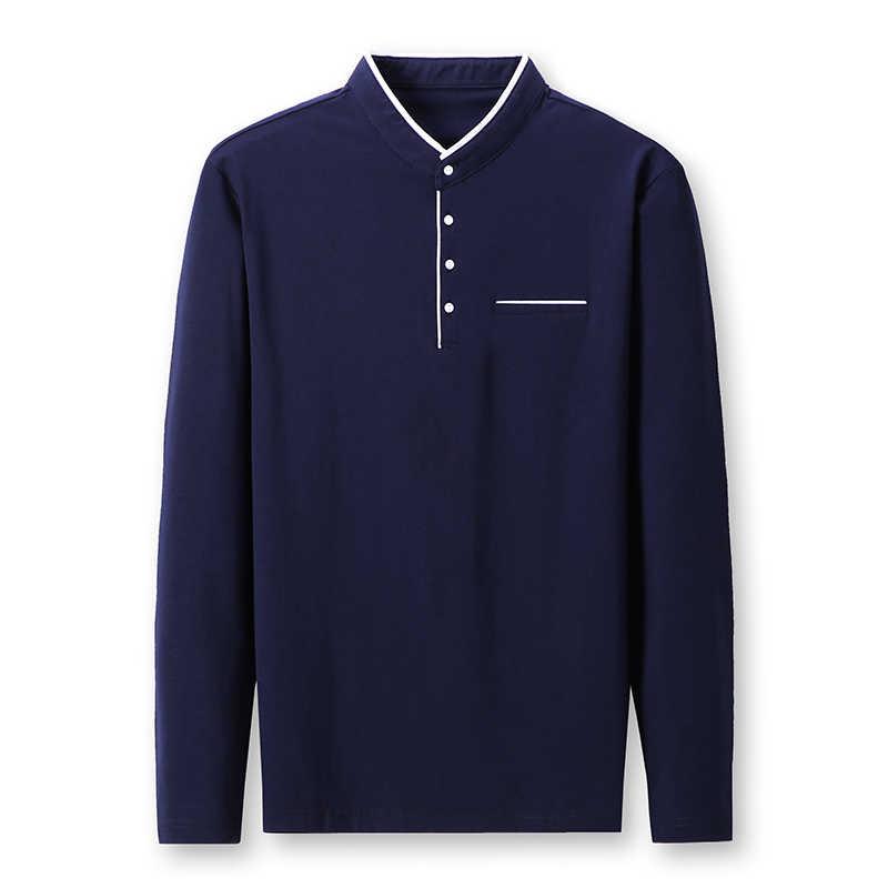MIACAWOR 새 봄 남성 폴로 셔츠 95% 코튼 솔리드 컬러 만다린 칼라 긴 소매 폴로 남성 슬림 피트 폴로 옴므 T805