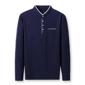 Image 4 - Miacawor Mùa Xuân Mới Nam Áo 95% Cotton Màu Quan Cổ Trụ Dài Tay Nam Slim Fit Polo Homme t805