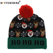 BUTTERMERE Christmas Winter Cap for Women Led Light Santa Claus Snow Deer Novel Winter Hat Red Green Knitted Skullies Beanies(China)