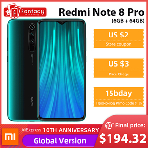 Global Version Xiaomi Redmi Note 8 Pro 6GB 64GB 64 MP Quad Cameras MTK Helio G90T Smartphone 6.53'' FHD+ 4500mAh 18W QC 3.0