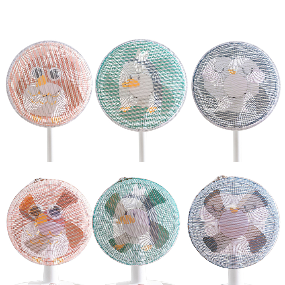 Cute Cartoon Animal Home Use Electric Fan Protective Cover Safety Mesh Fan Dust Cover Fan Guard Kids Finger Protector Round